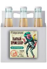 """Сидр яблочный """"Пьяный профессор"""" сладкий в ящике 12 бут. по 0.7 л."""